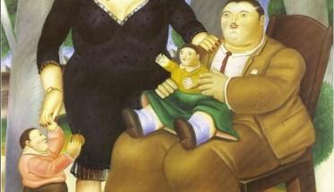 Astratta-pittura-moderna-famiglia-1983-opere-d-39-arte-di-fernando-botero-pittura-a-olio-su